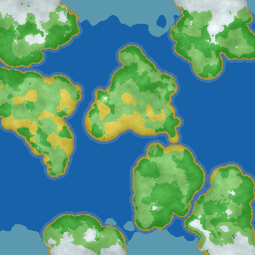 World map showing continents and basic biome allocations